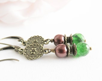 Long green earrings, brown pearl earrings, dangle and drop, green jewelry, gift for her, antique style earrings, wife gift, girlfriend gift