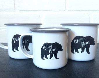Mama, Papa and Baby Bear Enamel Mug Set - Christmas Gift for Campers - Personalized Camping Mugs - Vintage Style Enamel Mugs - Gift for Mom