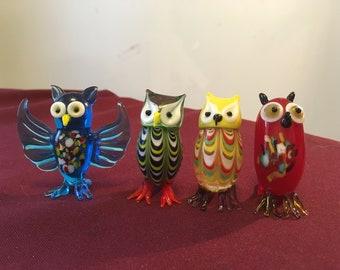 Colorful Glass Owl Set