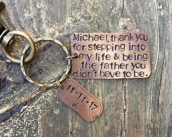 STEP FATHER of the BRIDE Key Chain. Gift for Step Dad. Wedding Gift for Step Father. Wedding Date. Personalized. Rehearsal Dinner Gift.