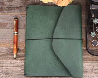 Leather Planner Cover- Travelers Notebook - Deep Green - Treehouse - Leather Quill Shoppe - Green Leather- Gift for Him - Free USA Shipping