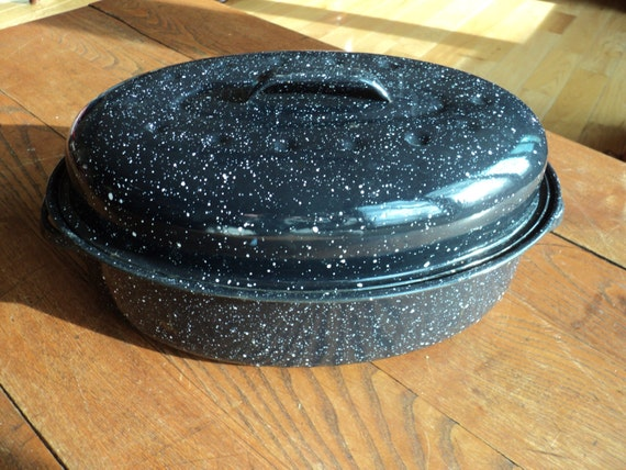 Vintage Blue Enamel Covered Metal Oval Shaped Roasting Dutch