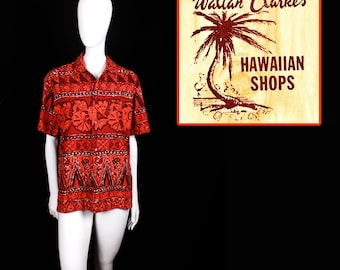 1950's Waltah Clarke's Hawaiian Shirt Made in Honolulu (Medium)