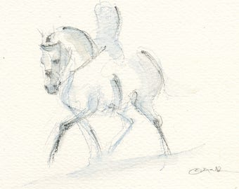 """Horse Art, Painting, Equestrian Original Watercolor by Anna Noelle Rockwell, """"Fog Gray"""""""