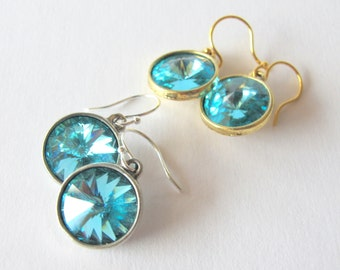 Light Turquoise Luxury - Swarovski Rivoli Rhinestone Drop Earrings in Light Turquoise Blue - Something Blue in Silver Plated Settings