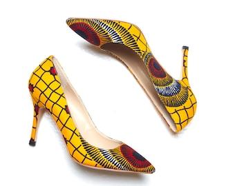 African shoes, African print shoes, Ankara print shoes, ankara shoes, african heels, african print high heel, ankara pumps, african (LEONA)