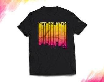 Netherlands Shirt women men, Retro Netherlands Gift T shirt, Vintage style Netherlands T shirt, 1980s Netherlands tshirt souvenir, tee #1696