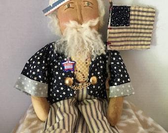 Patriotic Uncle Sam, handmade art doll, independence day, Primitive decor, primitive doll, 4th of july, Patriotic Decor, Uncle Sam Doll