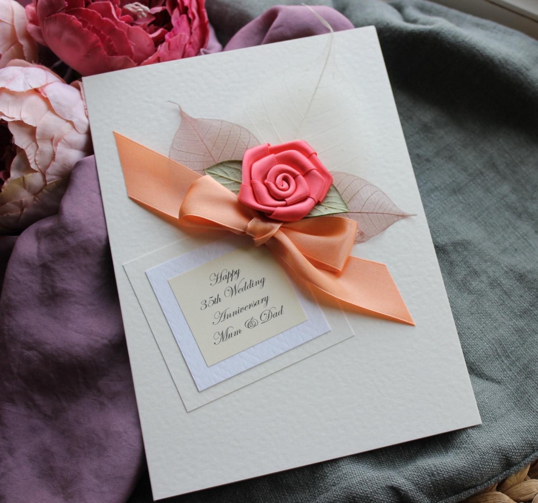 Personalised Handmade Card Coral 35th Wedding Anniversary