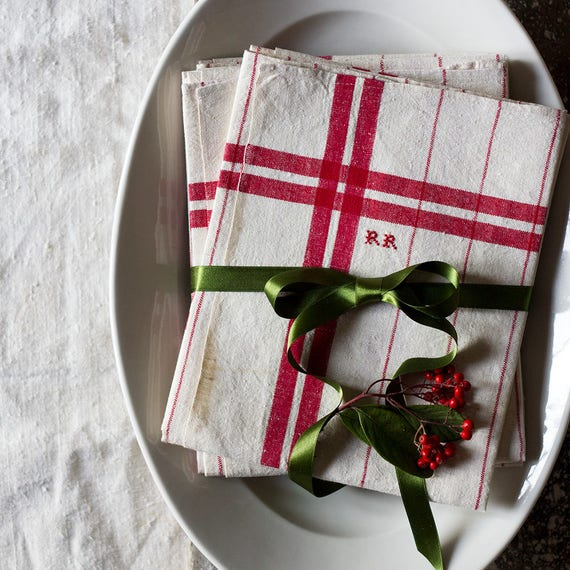 French Linen Red Check Border Kitchen Towel
