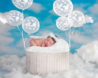 Digital backdrop sky newborn baby angel boy or girl