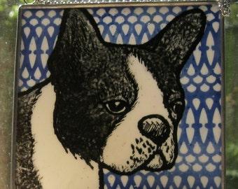 Boston Terrier  Stained Glass Dog Suncatcher JRN221