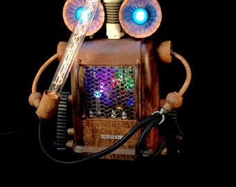 Steampunk Lamp Assemblage Sculpture