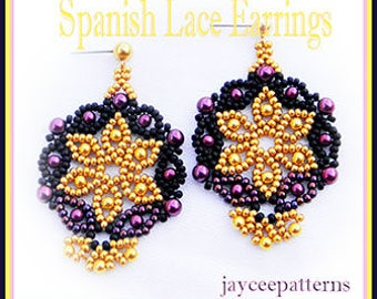 Beading tutorial - Spanish Lace earrings - Netting stitch