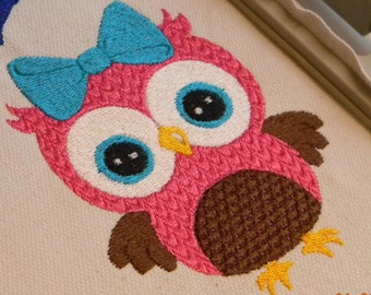 INSTANT DOWNLOAD ~ Owl with Bow ~ Machine Embroidery Design ~ Multiple Formats Available