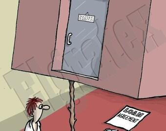 "Color Hand-Drawn Downloadable Cartoon, Funny Digital Comic, Cartoons, humor art gift - ""Loan trap"""