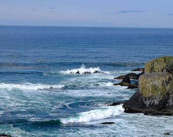 Yaquina Head - Oregon Coast - Newport - Seascape - Beach Photography - Wall Art - Home Decor - Blue - Ocean - gift - Waterscape - Renfro