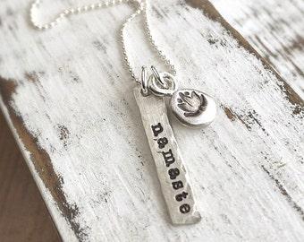 Yoga Necklace . yoga jewelry . namaste necklace . namaste . lotus flower . christmas gift . gift idea