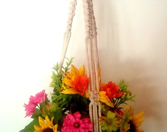 White Hanging Planter with Macrame Basket
