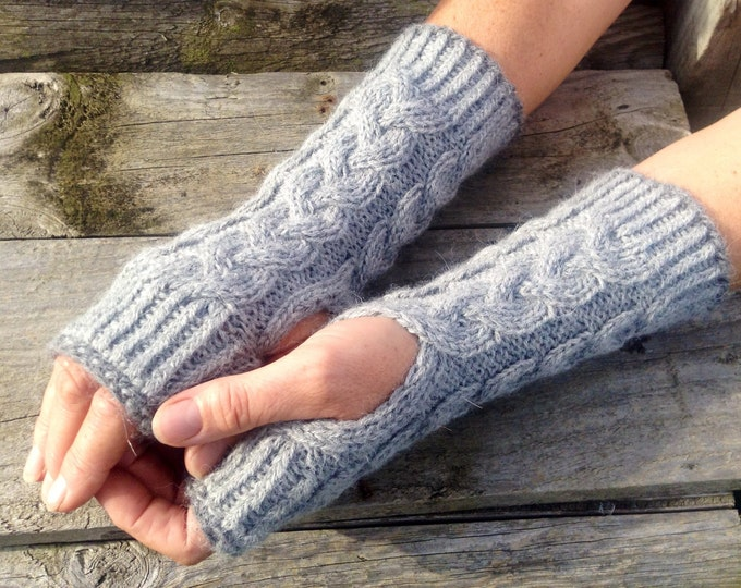 Ladies luxury pure alpaca mid grey cable mitten gloves by Willow Luxury ( one size)
