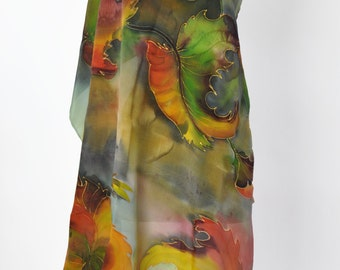Hand Painted silk shawl/Painted Leaves /Hand painted silk/Woman Scarf/Painting Shawl/Gift for woman/Luxury Silk scarf/Woman Accessory/0014
