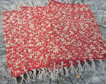 Red with tan and small accents of tiny blue hearts handwoven mug rugs, coaster, hot pads