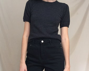 90s Charcoal Soft Wool Sweater Top, small