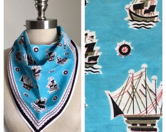 30% Off Sale 70s Turquoise Tall Ship Print Triangle Scarf, Head Scarf
