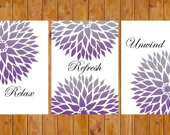 Purple Flower Burst Relax Refresh Unwind Floral Master Bathroom Wall Art Printable 3- 5x7  Digital JPG Files Instant Download (34)