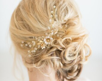 Large Gold Crystal Hair Pin, Bridal Hair Pin, Gold Wedding Hair Pin