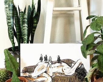 Hand Printed Vaquero Linocut
