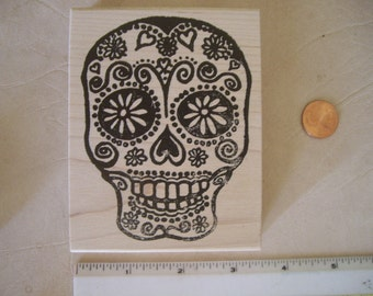 Dia de Los Muertos, Day of the dead skull No.1 rubber stamp wood mounted OR unmounted scrapbooking rubber stamping