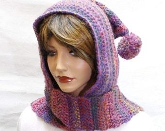 Hooded Scarf, hooded scarves, crochet scoodie, scoodie, scoodie scarf, crochet hooded scarf, scarf with hood, hoodie scarf, purple hood