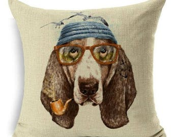 Basset Hound Sailor With Pipe And Glass Decorative Pillowcase