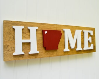"""Arkansas Razorbacks """"State Heart"""" Home Sign - Handcrafted wood with official team colors"""