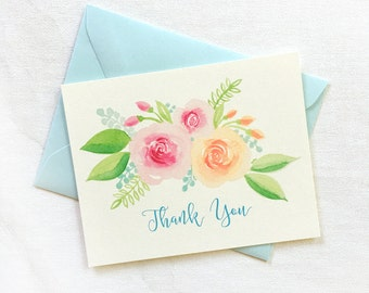 Watercolor Floral Thank you Card Set of 10, Illustrated Flowers Thank You Cards, Wedding Thank You Cards