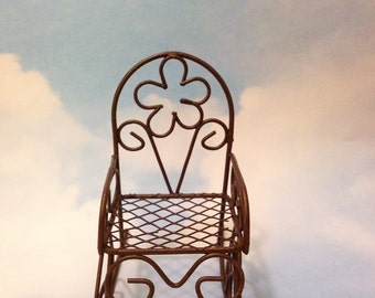 Rustic Looking Brown Metal Rocking Chair Fairy Miniatures Dollhouse  Miniatures