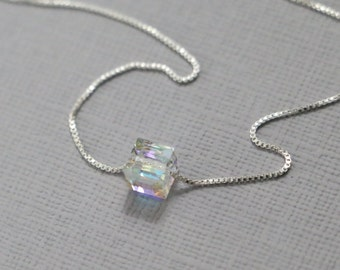 Tiny Swarovski Cube Bead on Sterling Silver Necklace Chain, Layering Necklace, Silver Layering Necklace, Gift for Her, Girlfriend Gift