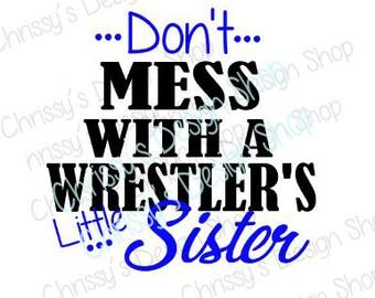 Little sister wrestling fan svg / wrestling sister svg / wrestler svg / school wrestling svg / sister fan / wrestling cut file / vinyl craft