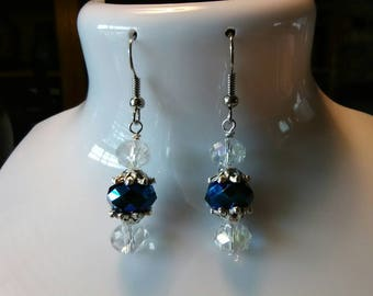 Blue AB and crystal drop earrings