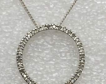 Sterling silver diamond circle pendant with chain