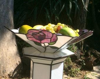 Ornamental fruit bowl, table centerpiece, glass centerpiece, stained glass bowl, stained glass , home decor,ornaments ,art