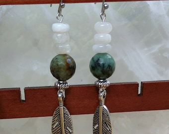 Boho earrings. Moonstone and African Turquoise earrings with silver feathers