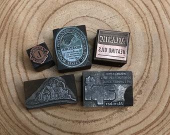 Vintage PRINTER'S Blocks- Metal & Wood Typeset Letters- Company Business Logos Lions Club- Typography- Industrial Printing Press
