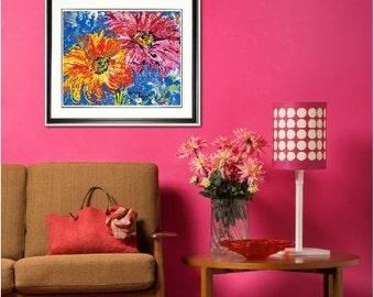Daisy print, Daisy wall art, Spring Flowers, Gerbera Daisy, garden room art, Garden Flowers,  Framed garden art, honeycomb, by Johno Prascak