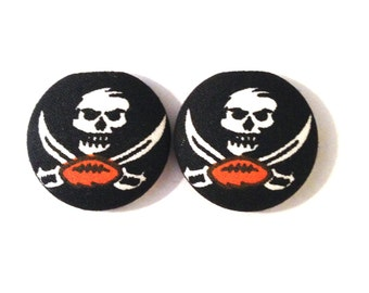 Tampa Bay Bucs Fabric Covered Button Earring Size Large