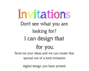 Custom invitations etsy custom invitation design design your own invitation create your own invitation birthday stopboris Gallery