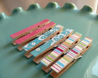 Decoupaged Clothespins Decorative Memo clips--Clara  Organization, Home Office, Kitchen, Chip Clip Gifts Under 5 Dollars Hostess Gift