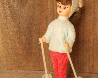 Vintage Doll on Skis - Plastic - 1950s- Vintage - Vintage Toy - Collectible - Articulated