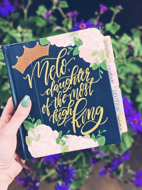 Daughter of the king hand painted bible, bible journaling gift for her, bible for teen girls, journaling bible, personalized bible cover